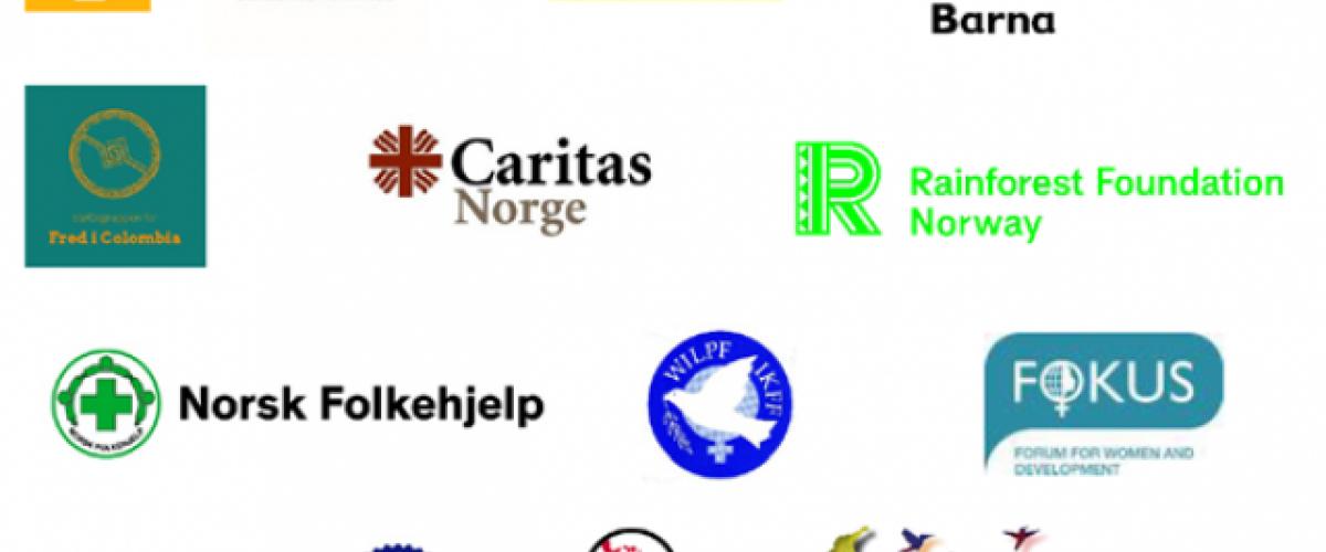 Logoer til organisasjonene i Colombiaforum som har skrevet under på uttalelsen
